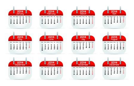 scots: Annual Calendar 2014 English vector illustration  Stock Photo