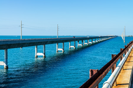 overseas: The historic Seven Mile bridge was built by Henry Flagler as part of the Overseas Railroad to Key West   Stock Photo