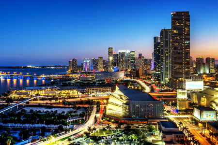 Miami downtown at night, Floride, USA photo
