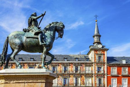 View of Statue of King Philips III, Plaza Mayor, Madrid, Spain