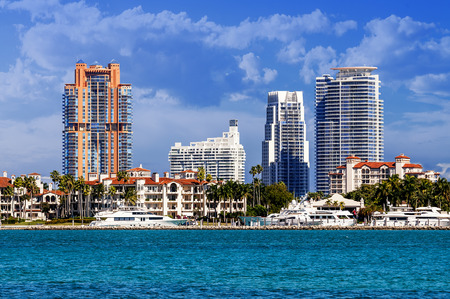 Miami south beach, view from port entry channel, Floride, USA.  photo
