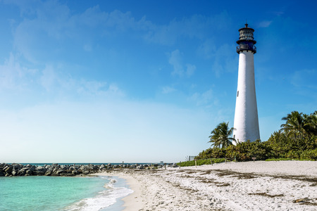 Cape Florida Lighthouse in Key Biscayne, Miami, Florida, USA