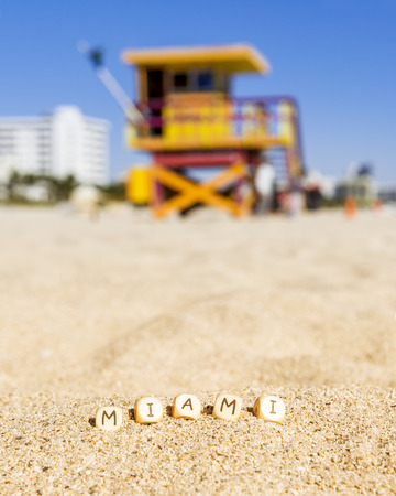 south beach: Maimi Southbeach, lifeguard house with letters on the sand, Florida, USA,  Stock Photo