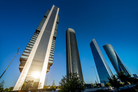 madrid: four modern skyscrapers  Cuatro Torres  Madrid, Spain  Stock Photo