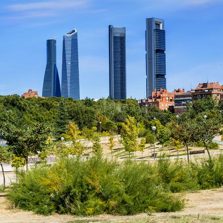 cuatro: four modern skyscrapers  Cuatro Torres  Madrid, Spain  Stock Photo