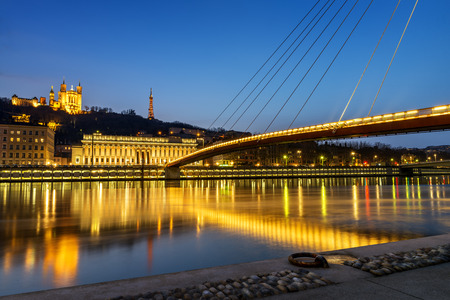 ne: night view from Lyon city near the Fourviere cathedral and Saône river
