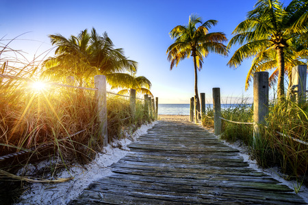 florida: way to the beach in Key West, Miami, Floride, USA