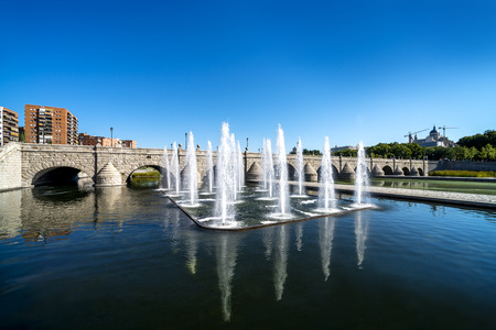 vue: Madrid Skyline with the Segovia Bridge, Almudena Cathedral and the Royal Palace  Stock Photo