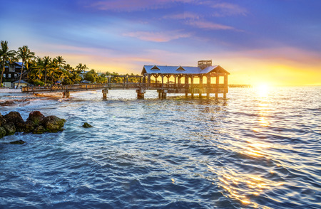 south coast: Pier at the beach in Key West, Florida USA