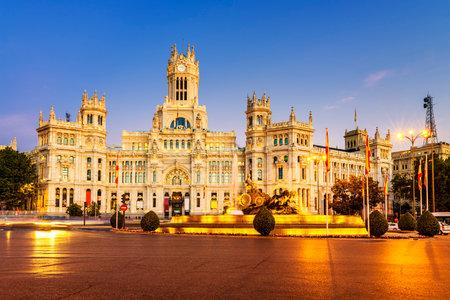 palacio de comunicaciones: Plaza de la Cibeles (Cybeles Square) - Central Post Office (Palacio de Comunicaciones), Madrid, Spain.