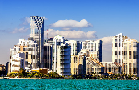 city of miami: Miami Downtown skyline in daytime with Biscayne Bay.