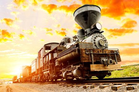 southwest usa: beautiful ils train in the sunset of southwest USA