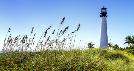 key biscane: Faro de Cabo Florida, Key Biscayne, Miami, Florida, EE.UU.