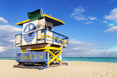Colorful Lifeguard Tower in South Beach, Miami Beach, Florida, USA