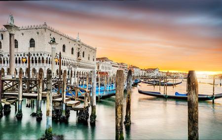 piazza san marco: Gondolas moored by Saint Mark square with San Giorgio di Maggiore church in the background - Venice, Venezia, Italy, Europe
