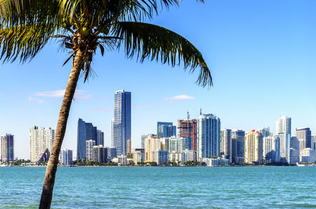 Miami Downtown skyline in daytime with Biscayne Bay
