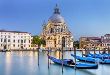 Gondola on Canal Grande with Basilica di Santa Maria della Salute in the background, Venice, Italy