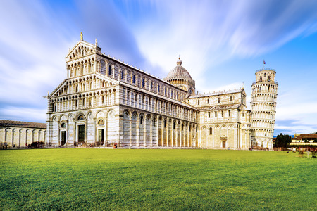 Piazza dei Miracoli complex with the leaning tower of Pisa in front, Italy  Stock Photo
