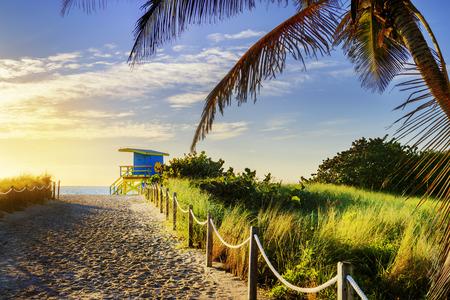 south park: Colorful Lifeguard Tower in South Beach, Miami Beach, Florida, USA