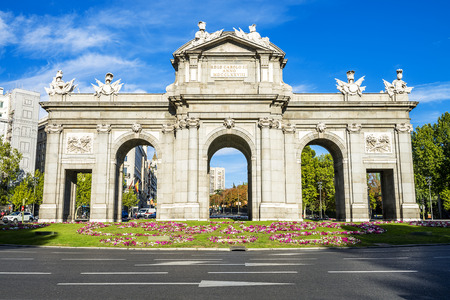 The Puerta de Alcala is a monument in the Plaza de la Independencia (Independence Square) in Madrid, Spain. It was commissioned by King Carlos III, with construction beginning in 1778.