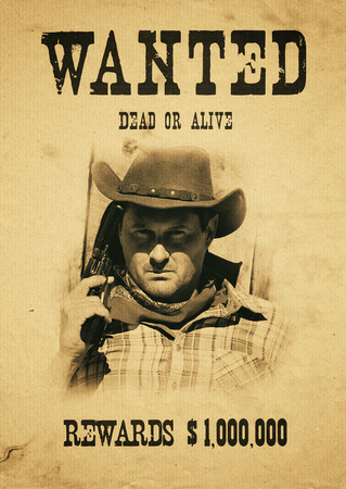 vintage wanted poster in a gost town Standard-Bild