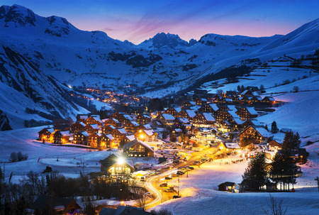 Evening landscape and ski resort in French Alps,Saint jean d'Arves, France