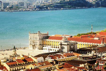baixa: view of commerce place in Lisbon, Baixa district near the famous Tage river Stock Photo