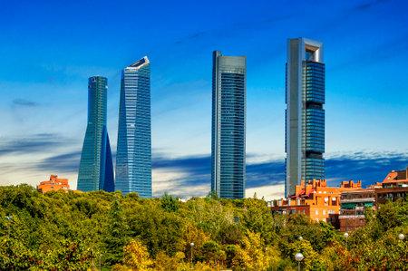 four modern skyscrapers (Cuatro Torres) Madrid, Spain Editorial
