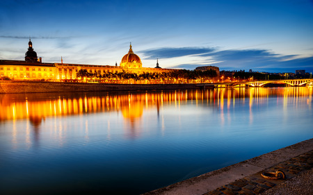 night view from Rhone river photo