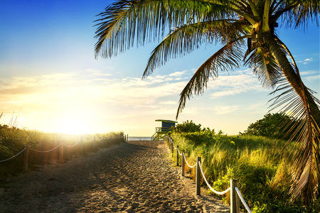 Kleurrijke Toren van de badmeester in South Beach, Miami Beach, Florida, Verenigde Staten
