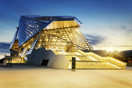 Confluences museum in Lyon city buy sunset, Editorial
