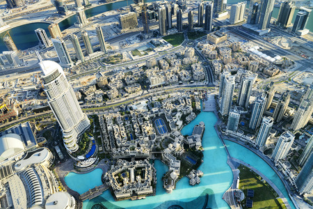 Dubai City ViewDowntown district, UAE 스톡 콘텐츠
