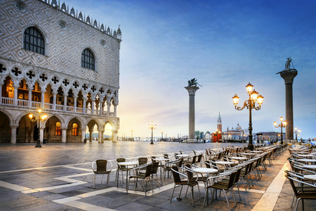 Saint Mark square with San Giorgio di Maggiore church in the background - Venice, Venezia, Italy, Europe Редакционное