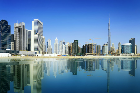 tallest: Dubai skyline, United Arab Emirates Stock Photo
