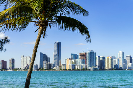 florida beach: Miami Downtown skyline in daytime with Biscayne Bay.