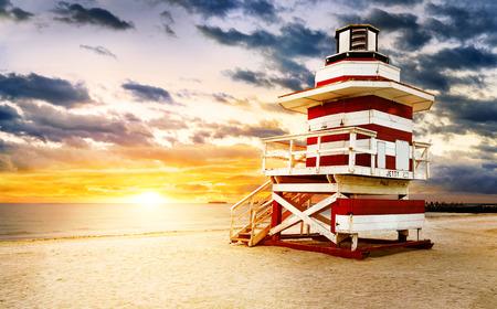 マイアミ サウス ビーチのサンライズ 写真素材