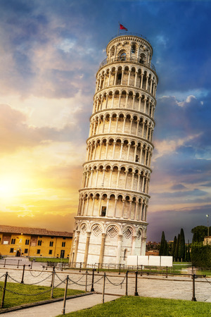 Pisa, place of miracles: the leaning tower and the cathedral baptistery, tuscany, Italy