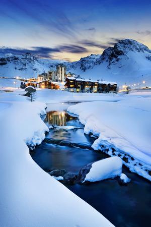 ski resort: Evening landscape and ski resort in French Alps,Tignes, Tarentaise, France