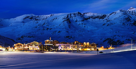 Evening landscape and ski resort in French Alps,Tignes, Tarentaise, France