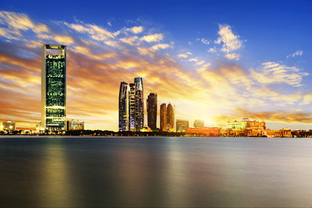 skyline: Panorama of Abu Dhabi at night, capital of United Arab Emirates