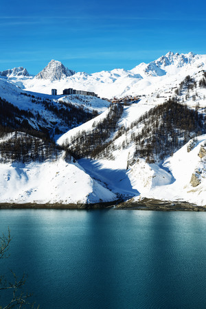 ice dam: Llandscape and ski resort in French Alps,Tignes, Le Clavet, Tarentaise, France