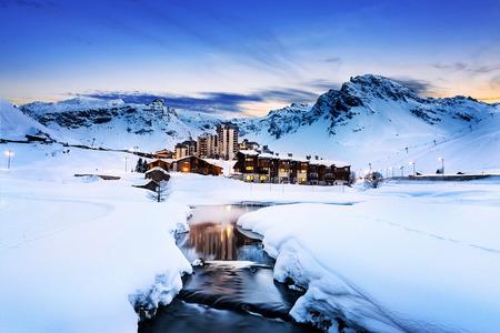 Abendlandschaft und Skigebiet in Französisch Alpen, Tignes, Tarentaise, Frankreich