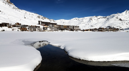 t ski: Llandscape and ski resort in French Alps, Tignes Le Clavet, Tarentaise, France