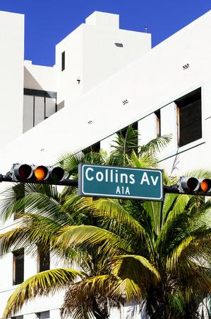 bilding: street sign of of famous Collins Avenue, Miami, Florida, USA