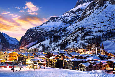 ski lift: Famous and luxury place of Val dIsere at sunset, Tarentaise, Alps, France Editorial