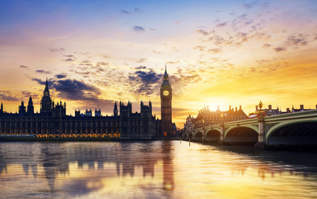 houses of parliament: Big Ben and Houses of parliament London at dusk Stock Photo