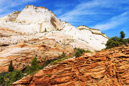 unforgettable: Zion National Park USA. Scenic multicolored cliffs create an unforgettable landscape Stock Photo
