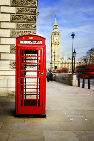 telephone box: Red phone box with Big Ben, London.