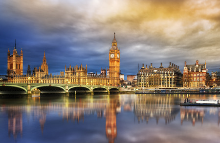 houses of parliament: Big Ben and Houses of parliament at dusk, London, UK
