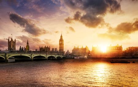 westminster bridge: Big Ben and Westminster Bridge at dusk, London, UK